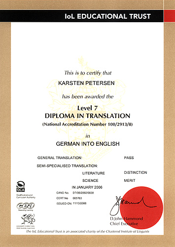 Chartered Institute of Linguists Diploma in Translation German into English