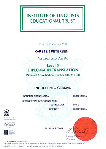 Chartered Institute of Linguists Diploma in Translation English into German